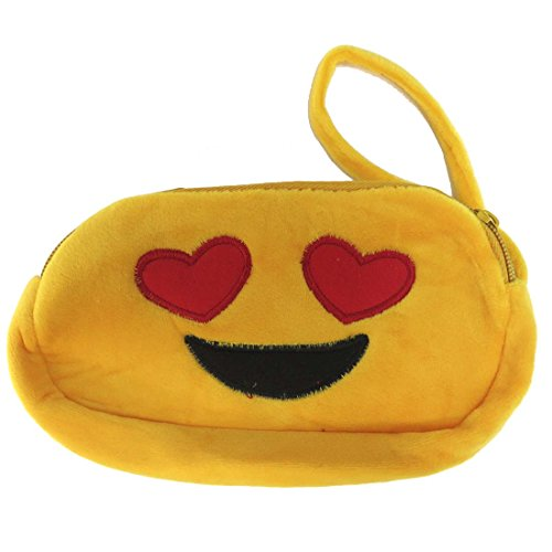 Heart Zip Phone Wristlet Face Eyes Emoji Plush Yellow Pouch Smiley HH6wqS