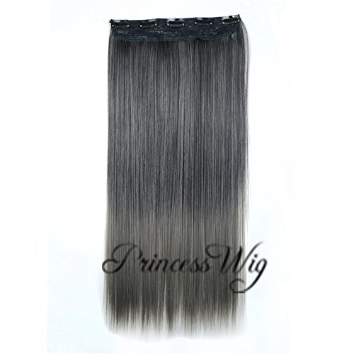 Hair Extension Digital (Princesswig 1681BT70 Full Head Dark Gray Long Straight Synthetic Hair Extensions One Piece 5 clips Clip in Long Poplar Style)