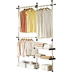 PRINCE HANGER | Double 2 Tier Hanger & Shelves | Clothing Rack | Closet Organizer | Heavy Duty | PHUS-0053