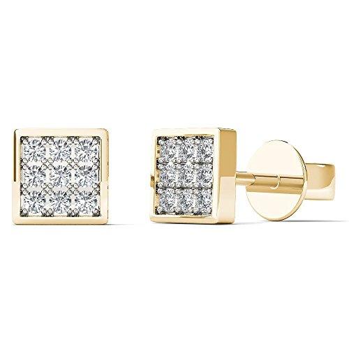 JewelAngel Kids Big Girl's Diamond Accent Square Stud Earrings (H-I, I1-I2) 10K Yellow Gold by JewelAngel Kids