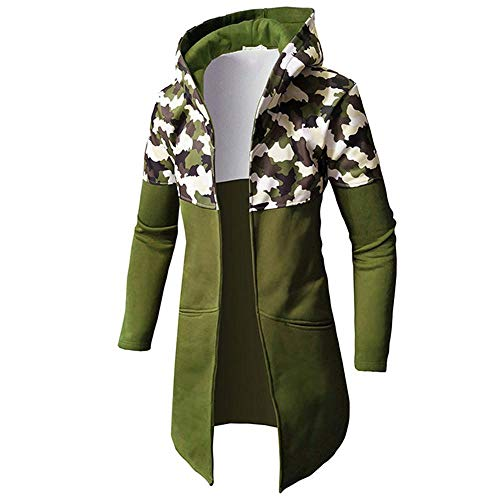 Price comparison product image WUAI Mens Winter Hood Jacket Casual Lightweight Camouflage Printed Zip Up Mid Long Cardigan Coat Jacket(Army Green,US Size 2XL = Tag 3XL)
