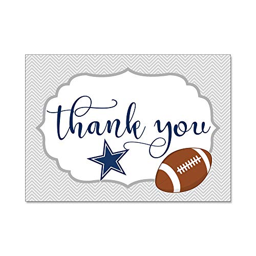 Set of 12 Thank You Notes and Envelopes with Dallas Texas Cowboys Football Lone Star Blue and Gray TYTS8003]()