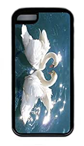 iPhone 5C Case, Personalized Protective Rubber Soft TPU Black Edge Case for iphone 5C - Love Swans Cover