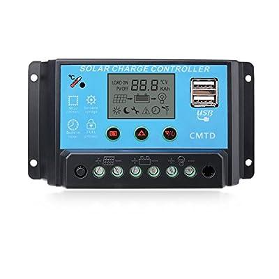 Sunix 12V/24V Solar Charge Controller Charge Regulator Intelligent , USB Port Display Overload Protection Temperature Compensation
