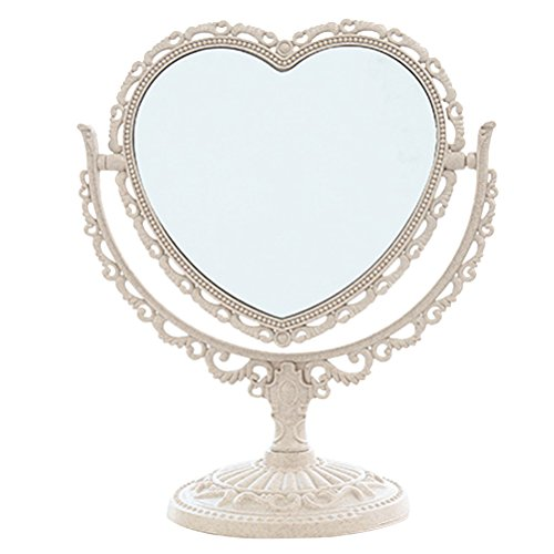 Makeup Mirror, Tabletop Vanity Mirror Double Sided Magnifying Makeup Mirror with 360 Degree Rotation (Heart Shape, Beige) ()