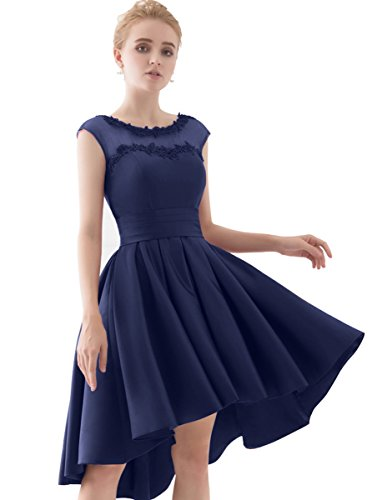 YORFORMALS Cap Sleeve A-Line Homecoming Dress Short Prom Gown Size 4 Navy