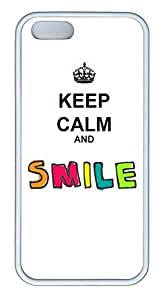 K Keep Calm Smile Cover Case Skin for iPhone 5 5S Soft White