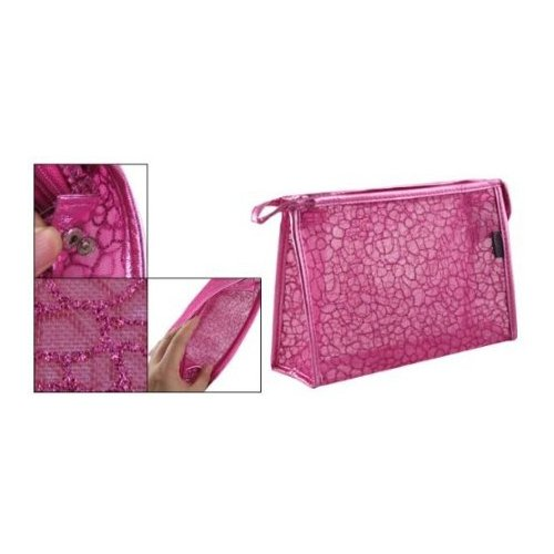 Gleader-Powder-Decor-Zip-Up-Make-Up-Mesh-Plastic-Pouch-Bag-Fuchsia-For-Lady-by-Gleader