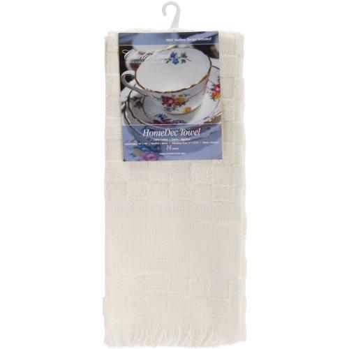 Charles Craft TT6624-2724 Home Dec Check Towel, Ecru, 16 by 26-Inch
