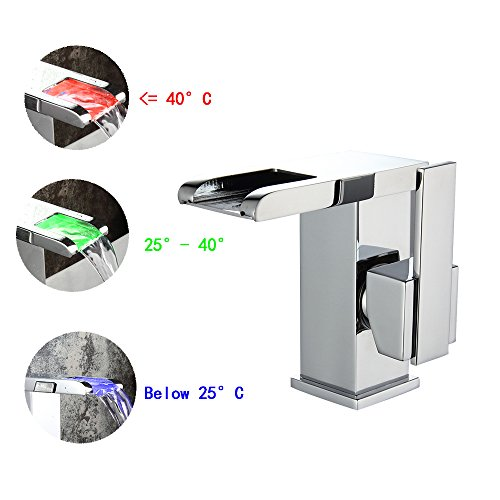 OWOFAN Widespread Waterfall Bathroom Sink Faucet Temperature Sensitive Light Water Stream 3 Colors Changing Single Handle Lavatory Mixer Taps WF-519L