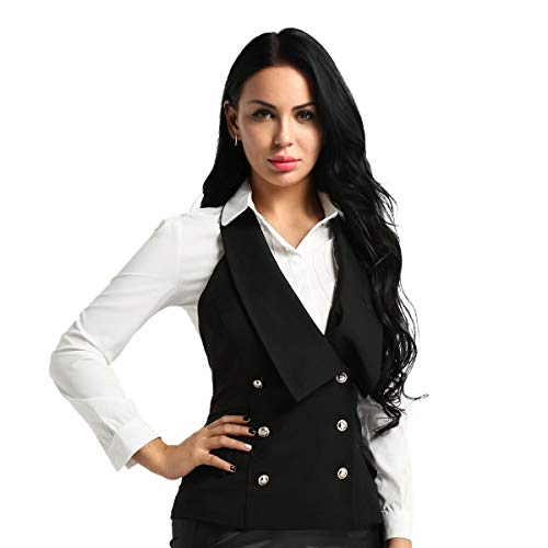 Agoky Women's Business Dressy Suit Vest Waistcoat Slim Fit Economy Halter Backless Tuxedo Suits Black Small