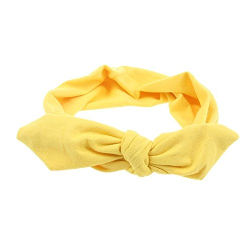 Pop Your Dream Vintage Adults Elastic Headband Cute Bunny Ears Bow Stylish Hairband Twisted Hair Decor Accessory Yellow from Pop Your Dream