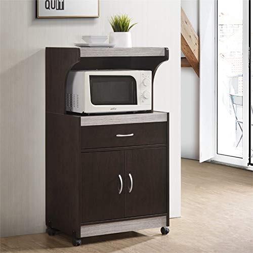 Pemberly Row Microwave Kitchen Cart in Chocolate Gray