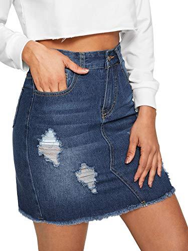 WDIRARA Women's Casual High Waist A-Line Raw Hem Denim Short Skirt Blue-1 S ()