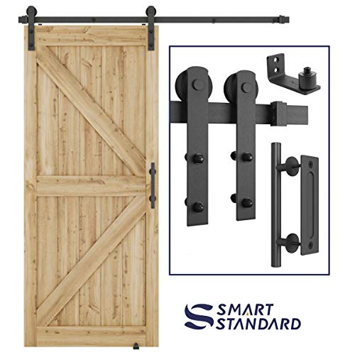 6FT Heavy Duty Sturdy Sliding Barn Door Hardware Kit, 6ft Double Rail, Black, (Whole Set Includes 1x Pull Handle Set & 1x Floor Guide) Fit 36