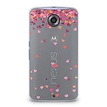 Case for Nexus 6, CasesByLorraine Little Pink Hearts Matte Transparent Case Plastic Hard Cover for Motorola Google Nexus 6 (A17)
