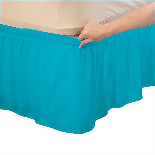 OnlineSmartDeals 100% Egyptian Cotton Elastic Bed Wrap Ruffle Bed Skirt Turquoise Blue Solid , Queen/King