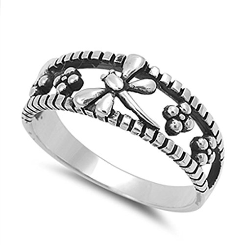 Dragon Solid Ring (Sterling Silver Women's Flower Dragonfly Ring (Sizes 4-10) (Ring Size 8))