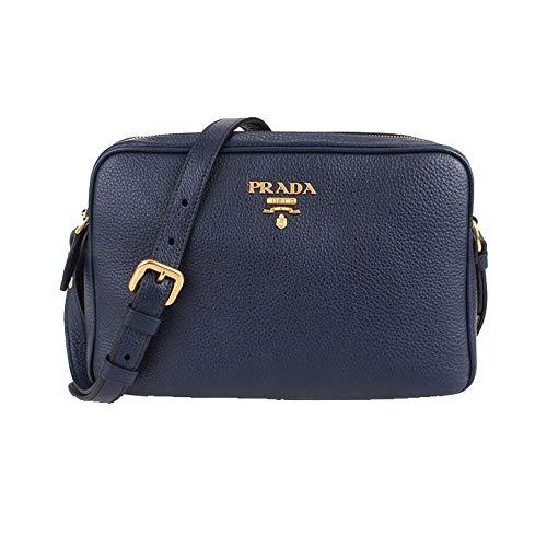 - Prada Women's Navy Blue Vitello Phenix Leather Crossbody 1BH079