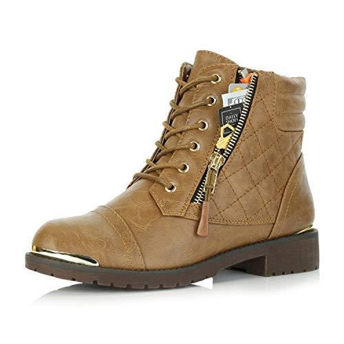 DailyShoes Women's Military Lace Up Buckle Combat Boots Ankle