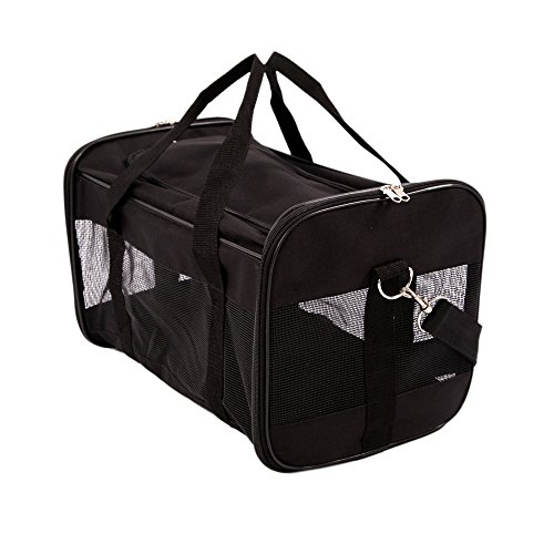 Petroad-Pet-Carrier-Bag-Soft-Sided-Collapsible-Portable-Pet-Carrier-for-PetsCarry-With-Single-ShoulderMeshes-for-VentilationBlack