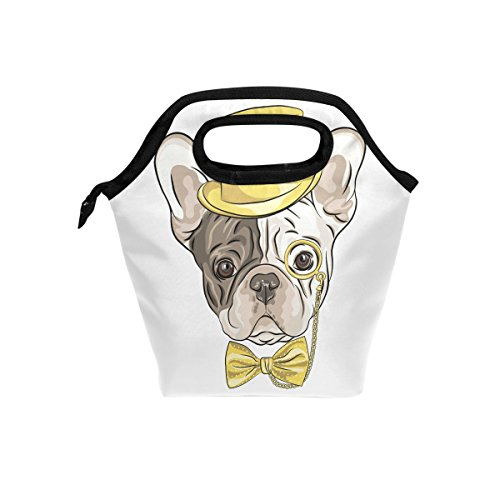 Blue Viper Hipster Dog French Bulldog Insulated Lunch Bag Tote Handbag Portable Lunchbox Food Container Gourmet Tote Cooler Warm Pouch for School Work Office