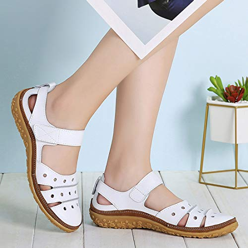 Z.SUO Women's Leather Sandals Flats Comfy Casual Walking Driving Shoes Fashion Summer Sandals