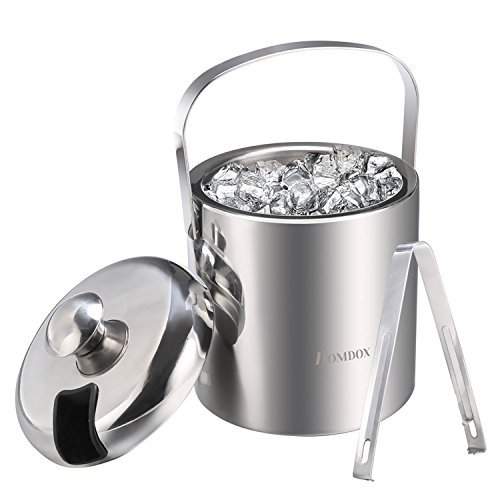 Homdox Ice Bucket Drinks Cooler Handle Wine Bucket Double Wall Stainless Steel Silver Ice Bucket Container with Lid and Tongs,Use for Picnic,Party,Bar(Diameter:5.5'' Height:9.8'') Silver Ice Tong