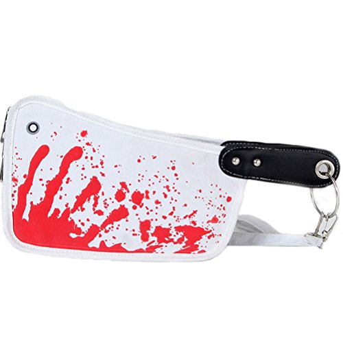 Halloween Purses - Genluna Knife Shape Handbag Purse Tote Bag Halloween Gifts Onesize white and red
