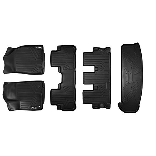 SMARTLINER Floor Mats 3 Rows and Cargo Liner Behind 3rd Row Set Black for 2014-2018 Toyota Highlander with 2nd Row Bench Seat