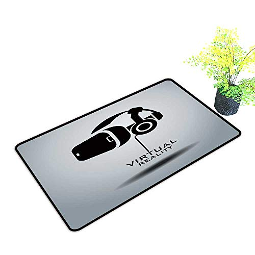 Large Outdoor Door Mats Virtual Reality Headset icon icon Design Black White Use for Entrance Outside Doormat Patio W33 x H21 INCH