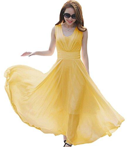 VOGUE CODE Summer Solid Color Chiffon Dress Slim Waist Beach Dress (L, - Summer Special Vogue