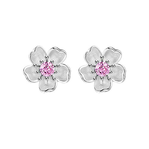 Madeone ✦18K Gold Plating 925 Sterling Silver Cubic Zirconia Cherry Blossom Flower stud earrings for Women Hypoallergenic with Box Packing