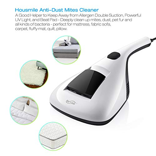 Housmile 804 Anti Dust Mites UV Vacuum Cleaner with Advanced HEPA Filtration and Double Powerful Suctions Eliminates Mites, Bed Bugs and Allergens for Mattresses, Pillows, Cloth Sofas, and Carpets