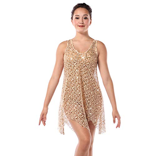 (Alexandra Collection Womens Sequin Crochet Lace Lyrical Dance Costume Overdress Nude Adult Small)