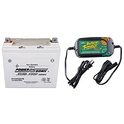 Power-Sonic (P11U1LD-FS) Sealed Maintenance Free Powersport Battery and Battery Tender 022-0185G-dl-wh Black 12 Volt 1.25 Amp Plus Battery Charger/Maintainer Bundle