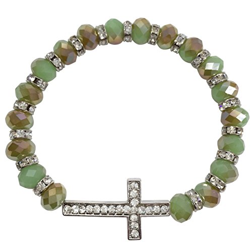 Glass Beaded Rhinestone Sideways Cross Stretch Bracelet (Green & ()