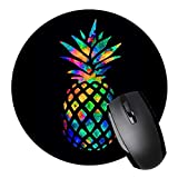 Black Pineapple Round Mouse Pad Non-Slip Rubber Mouse Pad Mouse Mat for Gaming and Working