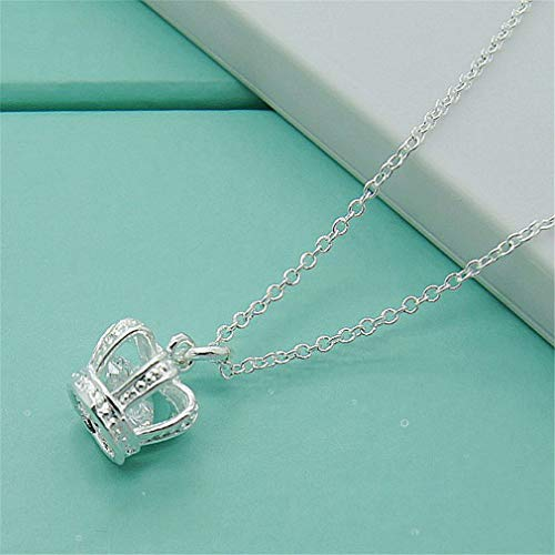 Top Quality N350 Silvery Crown Necklace 925 Silver Pendant Necklace Jewelry Austrian Crystal Wholesale