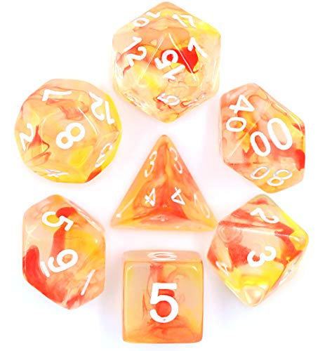 Polyhedral 7-Die Dice Set Transparent DND Dice for Dungeons with Purple Pouch (Yellow and Red)