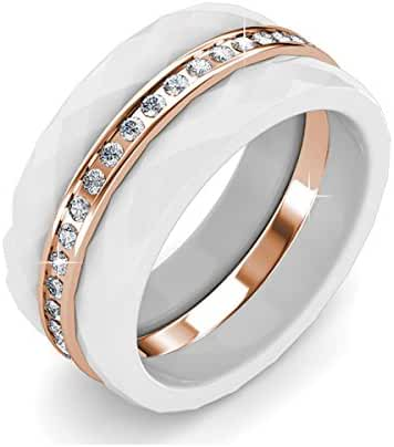 FAPPAC 18k Rose Gold Plated Crystals Set of 3 Stacking Ring Enriched with Swarovski Crystals