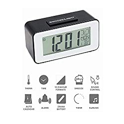 HAPITO Digtal Alarm Clock for Bedrooms - Sound Activated Backlight, Snooze, Time/Date/Temperature Display, 12/24 Hr and 16 World Time Zones for Kids, Desk, Bedside, Travel (Black)