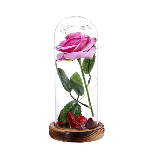 Base 24 Dome - Enchanted 24K Gold Plating Rose Flower in a Glass Dome Cover with LED Light Wooden Base for Valentine's Day Wedding Birthday Gift