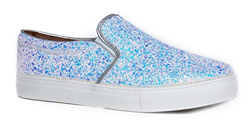 J. Adams Round Toe Slip On Sneaker - Entzückender gepolsterter Glitzer Schuh - Easy Everyday Fashion - Glimmer von Weißer Glitter