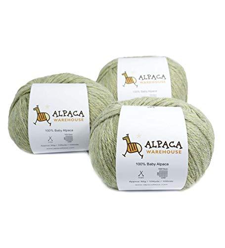 (100% Baby Alpaca Yarn Wool Set of 3 Skeins Worsted Weight (Soft Mint))
