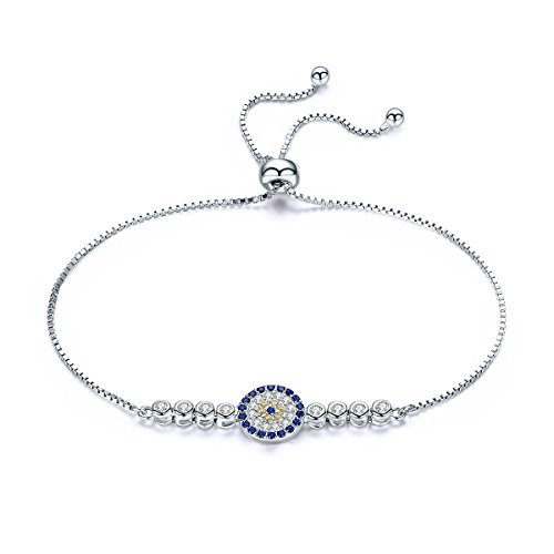 WOSTU Classic Cubic Zirconia Tennis Bracelet Fashion Sterling Silver Adjustable Chain Bracelets for Girls
