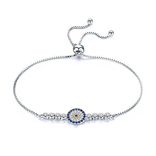 WOSTU Classic Cubic Zirconia Tennis Bracelet Fashion Sterling Silver Adjustable Chain Bracelets for Girls