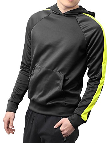 Hat and Beyond Mens Stripe Active Pullover Stretch Hoodie Track Sweatshirts Elastic Athletic Slim Fit H120 (XX-Large, h120_Blk/LIM)