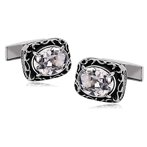 KnSam Stainless Steel Cufflinks for Mens Rectangle 4 Claws Oval Zirconia White - Memphis Bass Shop