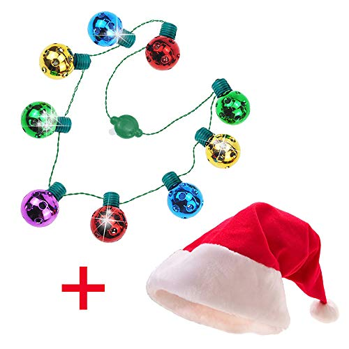 Upgraded Light Up Christmas Light Necklace and Santa Hat for Xmas Party, Christmas Gifts, Christmas LED Bulb Necklace, Christmas Decorations